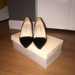 Jimmy Choo black leather kitten heels. Size 5.5